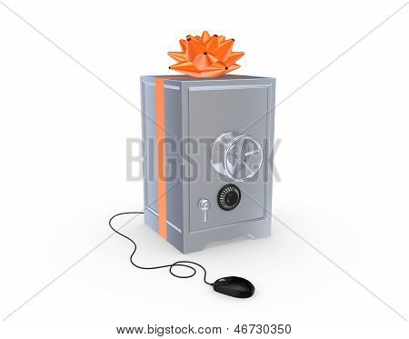 Iron safe and computer mouse.