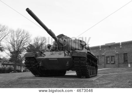 Black And White Photo Of Vintage Military Tank