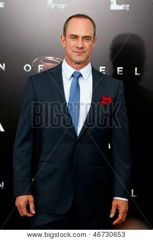 "NEW YORK-JUNE 10: Actor Christopher Meloni attends the world premiere of ""Man of Steel"" at Alice Tully Hall at Lincoln Center on June 10, 2013 in New York City."