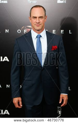 """NEW YORK-JUNE 10: Actor Christopher Meloni attends the world premiere of """"Man of Steel"""" at Alice Tully Hall at Lincoln Center on June 10, 2013 in New York City."""