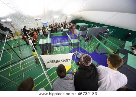 MOSCOW - NOV 17: The place of the 5th parkour contest to move at the University of Physical Education, Max Attack: Death Circle, on Nov 17, 2012 in Moscow, Russia