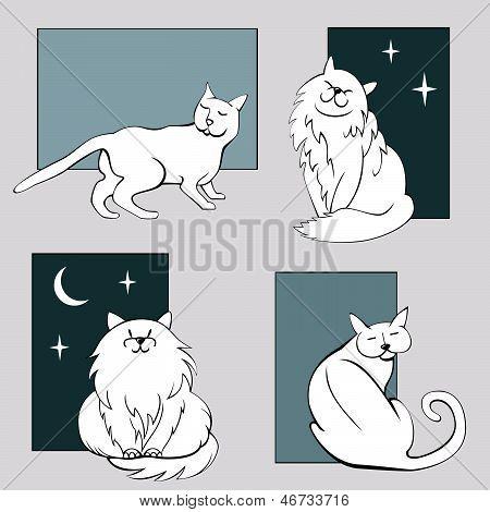 Funny cats sketches set three
