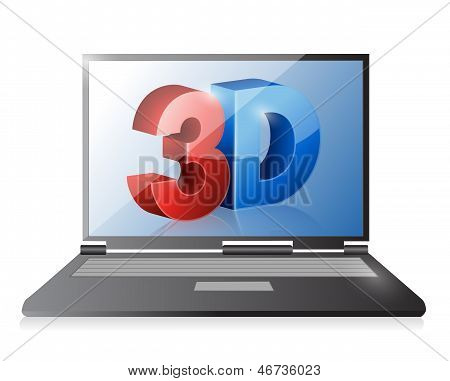 Laptop With A 3D Screen. Illustration Design