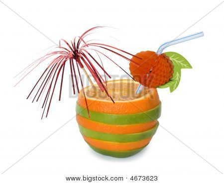Orange-apple Cocktail Over White