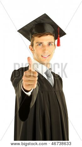 Young graduation man, isolated on white