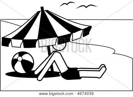 Symbol Mann Urlaub unter Sonnenschirm Meer