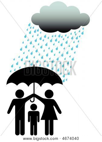 Symbol People Family Safe Under Umbrella Cloud & Rain