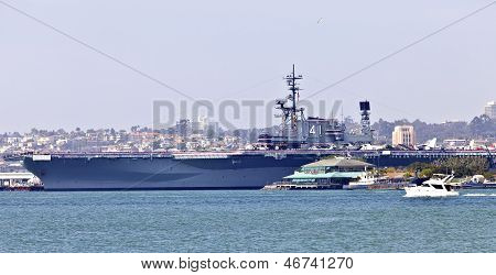Aircraft Carrier Battleship Midway In San Diego California.