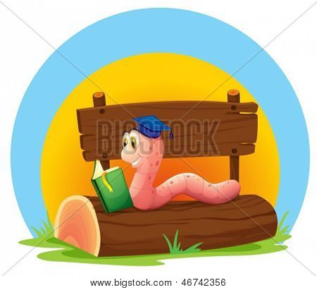 Illustration of a worm reading a book above a trunk with an empty signage on a white background
