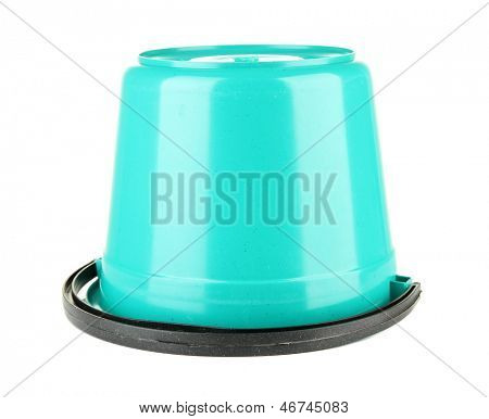 Color  plastic bucket isolated on white