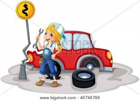 Illustration of a female mechanic near the car accident on a white background