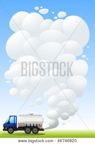 Illustration of a gasoline truck emitting smoke