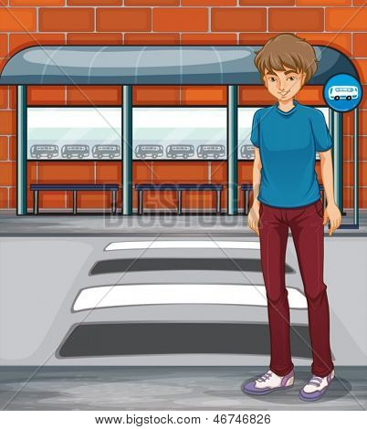 Illustration of a boy near the bus stop