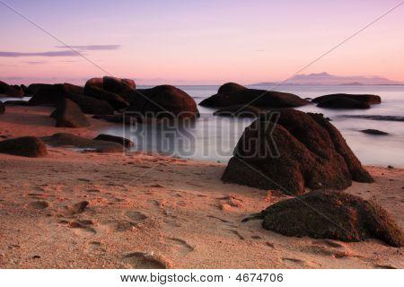 Paisagem de nascer do sol praia