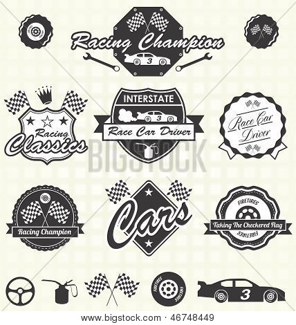 Vector instellen: Retro Race Car kampioen Labels