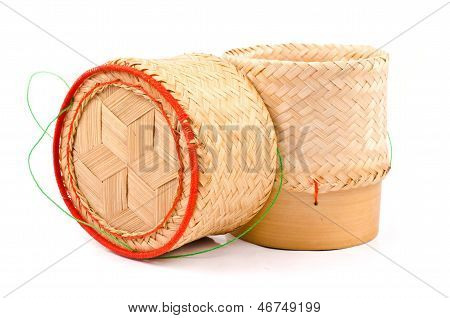 Thai Lao Original Handwoven Bamboo Sticky Rice Container Serving Basket.