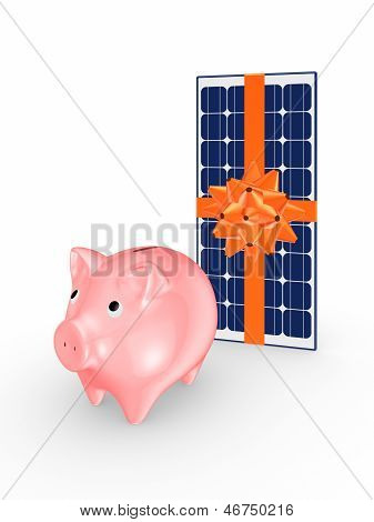 Pink piggy bank and solar battery.