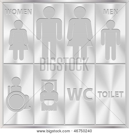 Aluminium Toilet Sign. Men and Women WC plate