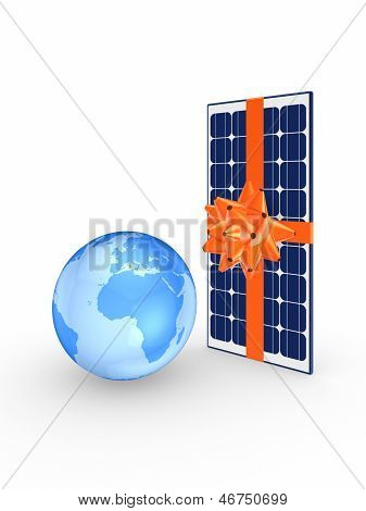 Solar battery and Earth.
