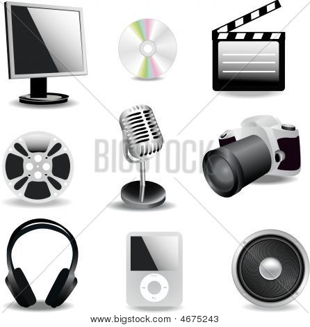 A Set Of Multimedia Icons