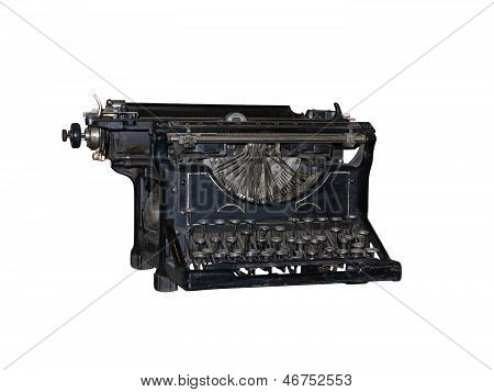Old Vintage Typewriter Isolated Over White