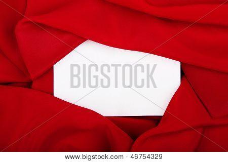 Silk Textile Border Round White Paper