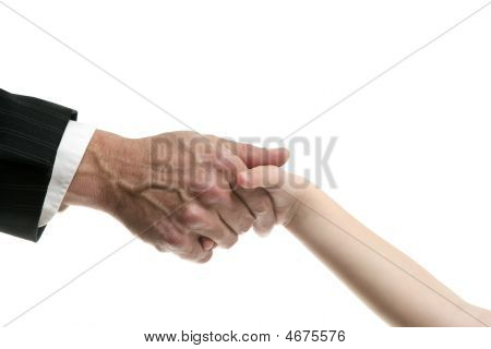 Businessman Father Giving Hand To A Child