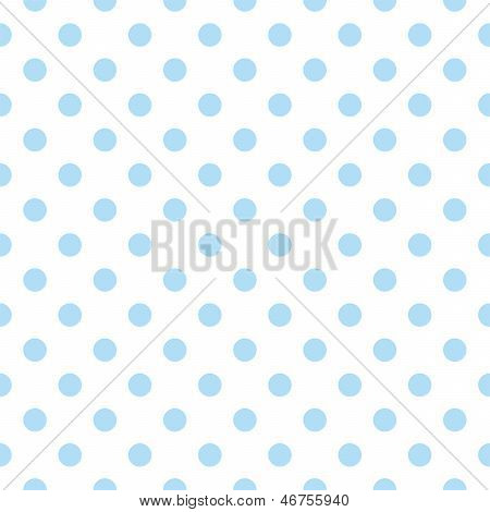 Seamless vector pattern with sweet baby blue polka dots on a white background.