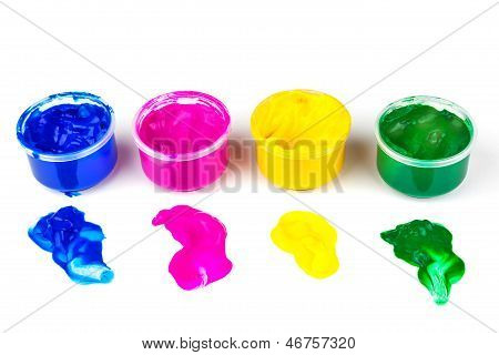 Color paint cans and color dabs of paint isolated on white background
