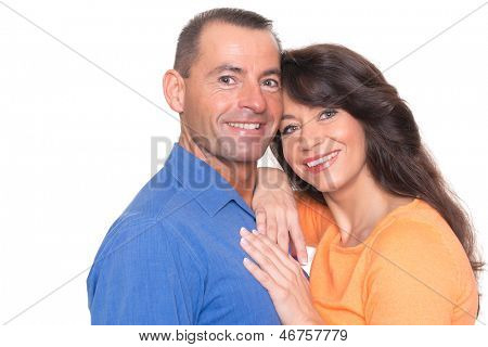 Happy couple in front of white background