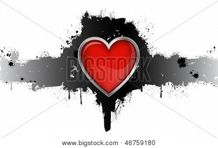 Red Heart Badge On White Background Vector Illustration