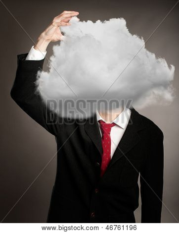 businessman with a cloud on her head