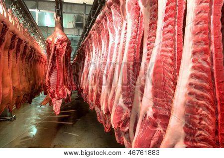 Carne fresca en una fábrica de fiambre