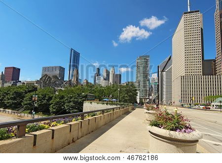 Millennium Park And A Partial Skyline Of Chicago