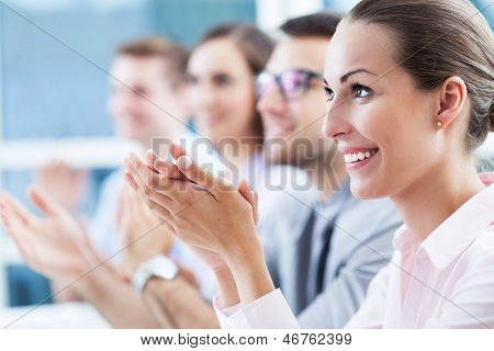 Business team clapping in applause