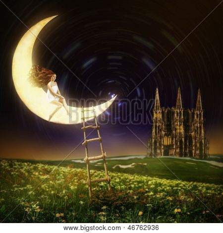 Beautiful Woman Sitting On Moon