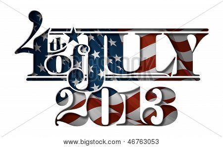 Forth Of July 2013 Lettering Cut-out