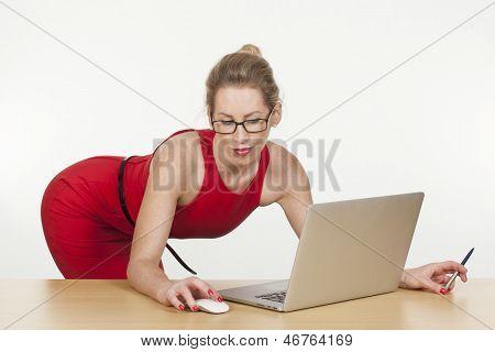 Hot Executive Posing Sensually While Working