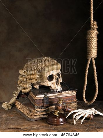 Symbols of death penalty like noose, judge's wig and skull
