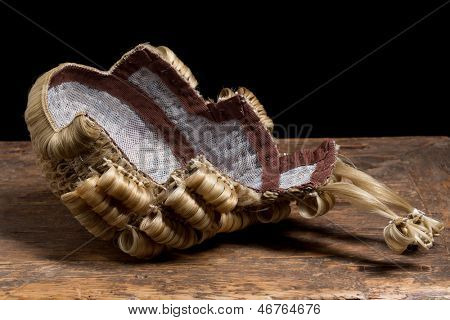 View on the inside of an authentic judge's or barrister's wig made of horsehair