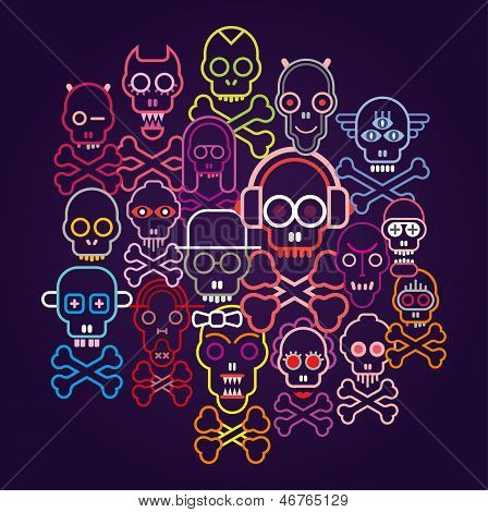 Skulls And Crossbones - Vector Illustration