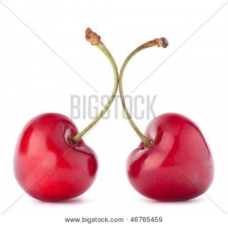 Two heart shaped cherry berries isolated on white background cutout