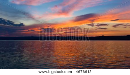Sunset On The Lake Panorama
