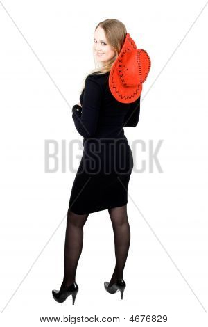 Blond Cowgirl Woman Red Cowboy Hat