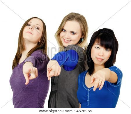 Three Women Pointing At You