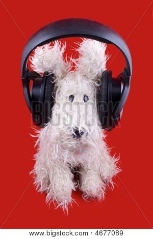 Cute White Toy Dog In Headphones