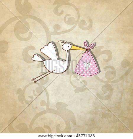 Baby shower card - Simple unique design with vintage background and hand drawn illustration stork in the front