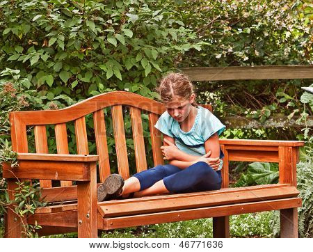 Cranky Girl On Bench