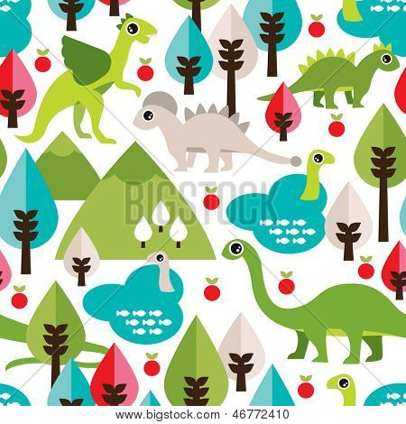 Seamless colorful baby dinosaur animal illustration background pattern in vector