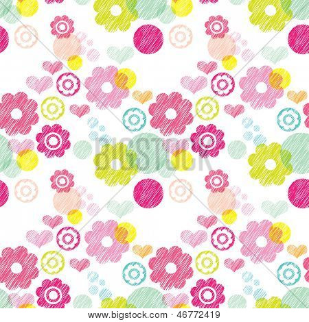 Seamless flower pink summer blossom retro background pattern in vector